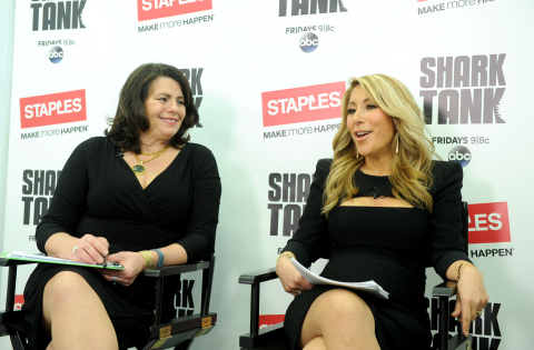 Shark Tank's Lori Greiner, right, and Staples' Alison Corcoran discuss innovation and how to launch a product at a small business panel hosted by Staples, Tuesday, April 7, 2015, in New York.  For the first time, Staples is selling Shark Tank products created by entrepreneurs featured on the show.  (Photo by Diane Bondareff/Invision for Staples/AP Images)