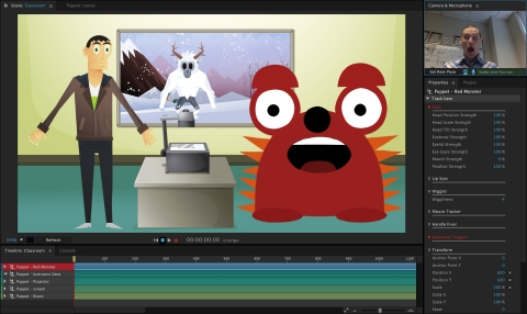 Adobe Character Animator lets you bring 2D characters to life by recording speech and performing your character's movement in front of a webcam. (Graphic: Business Wire)