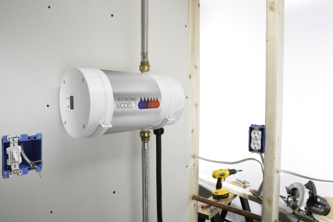 The Heatworks MODEL 1 combines the small footprint of a tankless water heating system with its unique energy transfer technology. (Photo: Business Wire)