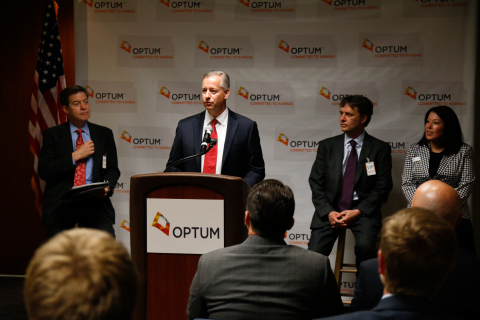 OptumRx CEO Tim Wicks, announces that the company's largest home delivery pharmacy in Overland Park, Kansas recently surpassed donations of more than $10 million in unused life-saving medications to federally qualified health centers taking care of Kansans in need. (left to right) Governor Sam Brownback, Optum CEO Tim Wicks, Lt. Governor Jeff Colyer, Amber Giron, Health Partnership Clinic of Johnson County (Photo: Optum)