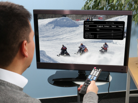 MPEG-H Audio offers viewers the ability to turn up or down particular audio elements in a program – such as dialogue or sound effects – as they prefer. © Fraunhofer IIS/Boxler/Schilling.