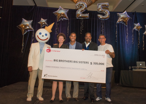 (From left) Joining fictional Jack in the Box founder, Jack Box, are Pam Iorio, President and CEO of Big Brothers Big Sisters of America; Lenny Comma, Chairman and CEO of Jack in the Box Inc.; Anil Yadav, Chairman of the Jack in the Box National Franchise Association; and Reza Khajavi, President of the Jack in the Box National Franchise Association. The Jack in the Box National Franchise Association again joined the Jack in the Box Foundation as co-title sponsor of the 25th annual Jack in the Box Charity Golf Tournament, which was held April 9-10 in Indian Wells, California. The event raised $325,000 for Big Brothers Big Sisters. (Photo: Business Wire)