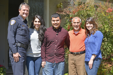 PulsePoint citizen responder, Walter Huber, and cardiac arrest survivor, Farid Rashti, meet for the first time. L to R: Steve Drewniany, Deputy Chief, Sunnyvale Department of Public Safety, Pegah Rashti, Farid's daughter, Walter Huber, Farid Rashti, and Millad Mohlenhoff, Farid's daughter. (Photo: Business Wire)