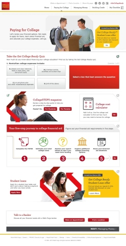 Wells Fargo's Get College Ready website was developed to help college-bound students plan and prepare for college. (Photo: Business Wire)