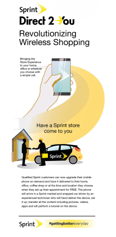 Sprint's Direct 2 You is a first-ever wireless customer service where retail-trained Sprint experts bring the in-store experience directly to the customer and set up the new device wherever and whenever the customer wants. (Graphic: Business Wire)