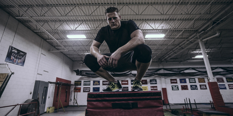 JJ Watt sets personal box-jump record in new Reebok ZPump Fusion sneakers (Photo: Business Wire)