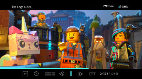 VUDU Player rendition of user interface of The Lego Movie in Dolby Vision. (Graphic: Business Wire)