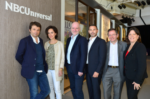 From left to right: Fabrice Bailly, Directeur des programmes; Sophie Leveaux Directrice Artistique Acquisitions, TF1; Joerg Graf, Head of Acquisition, RTL; Michael Edelstein, NBCUniversal International Television (NBCU - ITVP); Benoit Louvet - Executive Vice President, TF1; JoAnn Alfano, EVP Script Programming, NBCU ITVP (Photo: Business Wire)