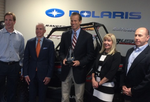 The National Association of Manufacturers (NAM) awarded Senator John Thune (R-SD) the NAM Award for Manufacturing Legislative Excellence at an event hosted by NAM member Polaris Industries in Vermillion, South Dakota. Pictured from left to right: Paul Eickhoff, Director, North American Distribution; Paul Vitrano, VP Global Government Relations; Senator John Thune - SD; Stacy Bogart, VP General Counsel; Jim Williams, VP, HR and Integration. (Polaris Industries)