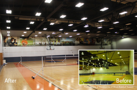 The University of Illinois at Urbana-Champaign increases the energy efficiency and lighting performance in three gymnasiums at its Activities and Recreation Center with Eaton's LED lighting. (Photo: Business Wire)