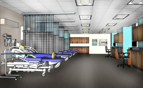Rendering of nursing skills laboratory at Gwynedd Mercy University's Center City campus, courtesy of Wulff Architects, Inc. (Graphic: Business Wire)