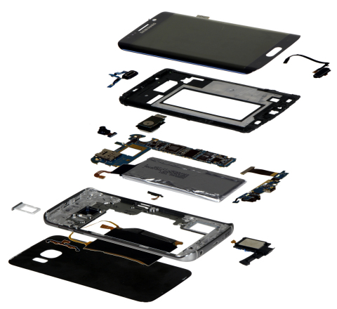 Exploded view of Samsung Galaxy S6 Edge teardown by IHS Technology (Photo: Business Wire)