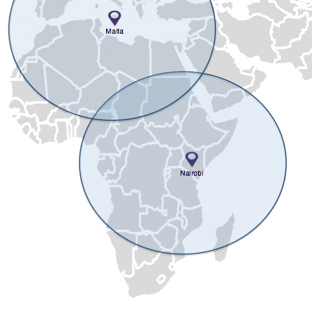 Effective Ranges from Nairobi & Malta (Graphic: Business Wire)