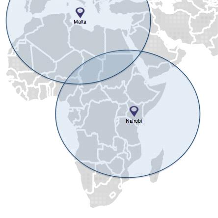 奈洛比及马尔他之覆盖范围 (Photo: Business Wire)