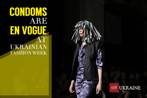 Designer Aleksey Zalevskiy promotes safer-sex at Autumn-Winter 2015-16 Ukrainian Fashion Week. (Photo: Business Wire)