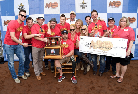 Cracker Barrel Old Country Store Country Checkers Challenge Winning Team Captained by Kellie Pickler Played for the USO (Photo: Business Wire)