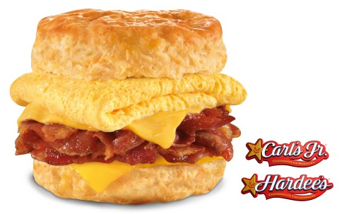 The new Mile High Bacon, Egg & Cheese Biscuit from Carl's Jr. and Hardee's features a hefty serving of premium, thick-cut Applewood-smoked bacon pieces piled sky high on top of a freshly-baked Made from Scratch™ Biscuit, along with a fluffy folded egg and melting American cheese. (Photo: CKE Restaurants)