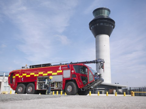 Oshkosh is showcasing a wide range of new products and advanced technologies at Interschutz 2015 on June 8-13. Headlining the booth will be the unveiling of the new Oshkosh(R) fire apparatus. Shown here is the Oshkosh Striker(R) 6 X 6, courtesy of Manchester International Airport. (Photo: Business Wire)