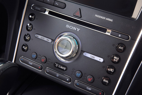 As a standard feature for the new Ford Explorer Platinum edition, this marks the first time high-end Sony home audio technology has been used in a vehicle. Live Acoustics and Clear Phase technologies bring realistic concert-quality sound to the new Explorer. (Photo: Business Wire)