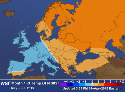 European seasonal forecast for May-July 2015 (Graphic: Business Wire)