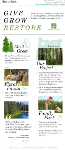 Tiny Prints, the leading online stationery boutique, today announced its partnership with American Forests, the oldest national nonprofit conservation organization. In an effort to revive the decimated Deschutes National Forest in Oregon, Tiny Prints, along with American Forests, will help restore its ecosystem and make it a destination for families to enjoy once again. To learn more about the Tiny Prints and American Forests partnership, please visit http://www.tinyprints.com/promo/americanforests.htm. (Graphic: Business Wire)
