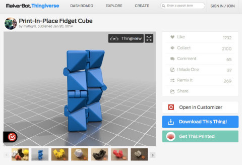 "Selected Thingiverse designers have added a ""Get This Printed"" button to their designs, which allows users to directly 3D print the object at the nearest 3D Hubs location. (Graphic: Business Wire)"