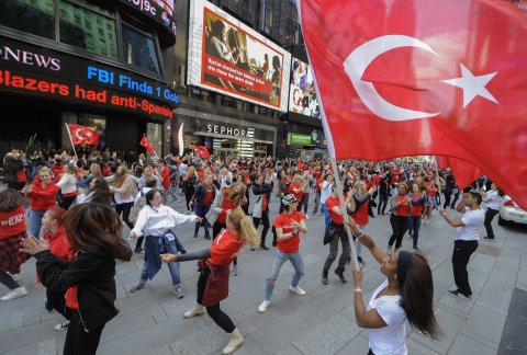 250 People Turkic Platform Dancers in Times Square Usher in Peace Era between Turkey and Armenia Thi ...