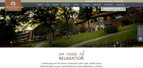 Award-winning Heidel House Resort & Spa website (Graphic: Business Wire)