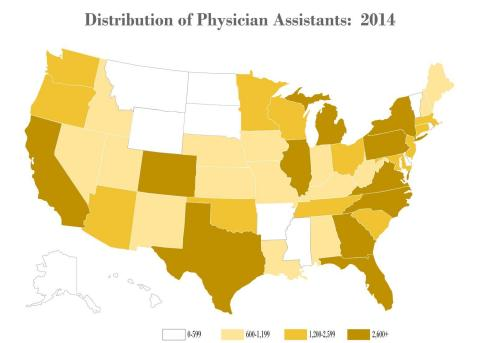 Numbers of certified PAs based on state of residence as reported to NCCPA (Graphic: Business Wire)