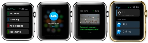 Pip App for Apple Watch, The Huffington Post App and the AOL App Available April 24 (Photo: Business Wire)