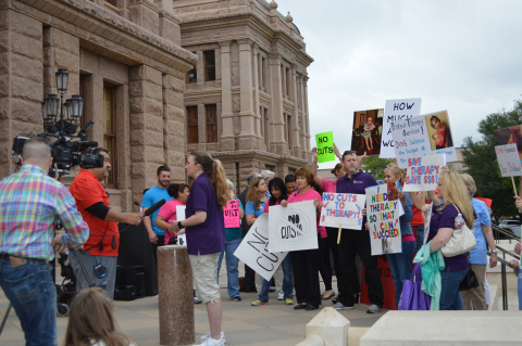 Opponents of $200 million in Texas Senate budget cuts for Medicaid therapy services rallied at the State Capitol Wednesday. (Photo: Business Wire)