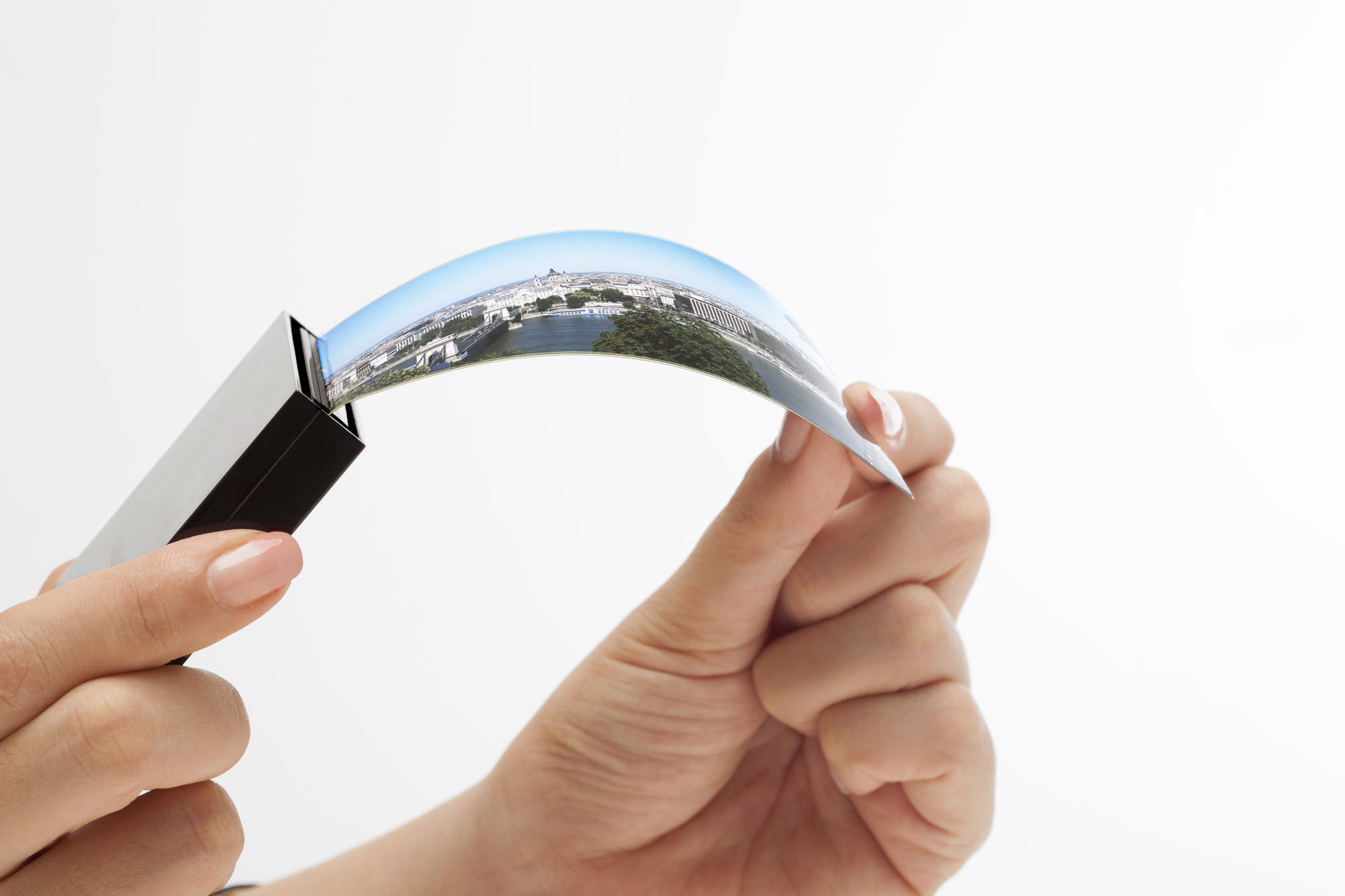 flexible displays The latest flexible display (pictured) was demonstrated at the display innovation exhibition in tokyo by japan's semiconductor energy laboratory.