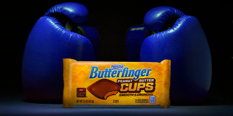 "World Champion Boxer Manny ""Pac Man"" Pacquiao is training with Butterfinger Cups for the fight of the century. Fans can see more at Facebook.com/Butterfinger or follow the action with #GetInOurCorner at Twitter.com/Butterfinger. (Photo: Butterfinger)"