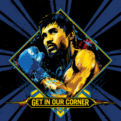"Butterfinger commissions renowned director and artist Warren Fu to create Manny ""Pac Man"" Pacquiao's ""Get In Our Corner"" fight graphic, exclusively available to the first 25,000 fans for digital download at ButterfingerCups.com/GetInOurCorner (Graphic: Warren Fu)"