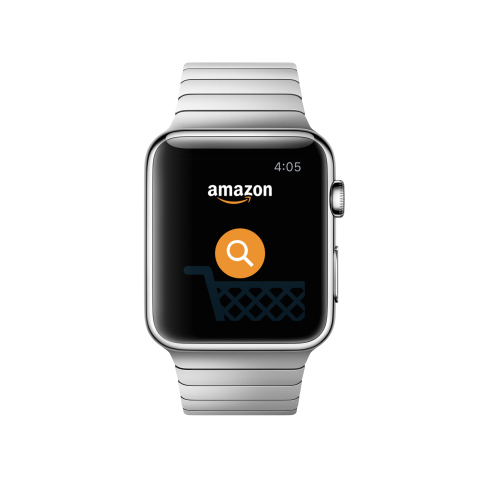Amazon customers with an Apple Watch can simply tap the Amazon shopping app on the watch to purchase items in seconds, or save an idea for later. (Graphic: Business Wire)