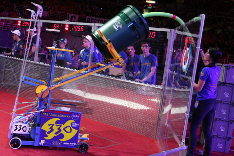 The four-day FIRST® Championship event came down to a heart-pounding conclusion in front of a roaring crowd of more than 40,000 when four teams from League City, Texas, and Davis, Clovis, and Palmdale, California of the Newton Subdivision won the coveted FIRST® Robotics Competition (FRC®) Championship Winning Alliance. (Photo: Business Wire)