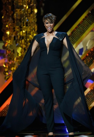 Host, Tyra Banks, during The 42nd Annual Daytime Emmy Awards on Pop. Photo: Monty Brinton/CBS © 2015 CBS Broadcasting Inc. All Rights Reserved