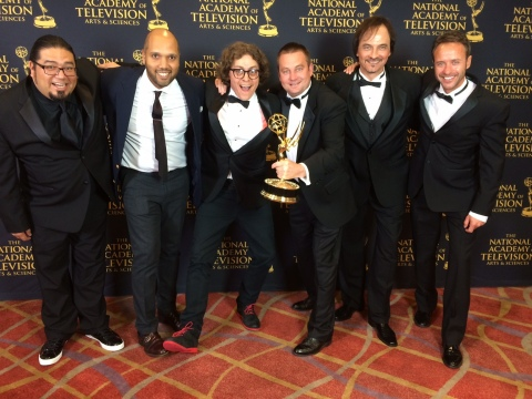 "The team behind ""Silent"" celebrates the Daytime Emmy Creative Arts Award wins at the ceremony in Los ..."