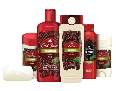 New Old Spice Fresher Collection harnesses nature's power to help guys to smell manlier and fresher than the great outdoors with scents inspired by the freshest ingredients in nature. Shown is the Fresher Collection product line in Timber scent. (Photo: Business Wire)