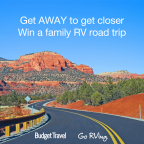 Win an RV vacation to explore America with the Get AWAY to Get Closer contest from Budget Travel and Go RVing! (Graphic: Business Wire)