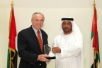 Colonel Dr. Rashid Mohammad Borshid presenting the Abu Dhabi Police Shield to New York City Police Commissioner (Photo: Business Wire)