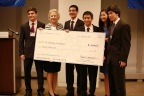 NCSSM Champions Guy Blanc, The Moody's Foundation President Fran Laserson, Sandeep Silwal, Michael An, Jenny Wang and Evan Liang just after winning $20,000 in scholarship money in the 10th Annual Moody's Mega Math Challenge (Courtesy of Moody's Mega Math Challenge)