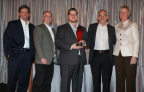 Mouser Electronics receives the prestigious 2014 Global High Service Distributor of the Year Award from TE Connectivity. Pictured left to right are Terrence Curtin, President, TE Connectivity; Keith Privett, VP, Supplier Management, Mouser; Les Balamut, Director, Supplier Management, Mouser; Glenn Smith, President and CEO, Mouser; and Joan Wainwright, President, Channel and Customer Experience, TE Connectivity. (Photo: Business Wire)