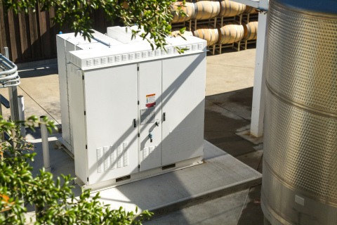 A Tesla Energy stationary storage system at Kendall-Jackson's (Jackson Family Wines) winery in Napa