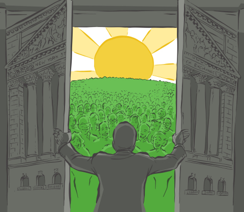 On May 1, 1975, the SEC deregulated brokerage commissions and, through new competition, the doors of Wall Street slowly opened to Main Street investors. Illustration: Neal Obermeyer