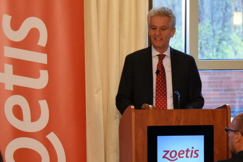 Zoetis CEO Juan Ramon Alaix speaking at the 2015 Annual Meeting of Shareholders.