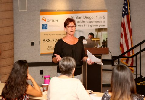 Dona Dmitrovic, MHS of Optum, leads one of several free suicide prevention and mental health training courses being offered by Optum and the San Diego County Suicide Prevention Council during Mental Health Awareness Month. The training courses are designed to teach participants about issues surrounding mental health, suicide prevention, detecting common signs and symptoms, and how to respond. In San Diego, one in five adults experience a mental illness in a given year, and one in four young adults ages 18-24 has a diagnosable mental illness (Photo: Jamie Scott Lytle).