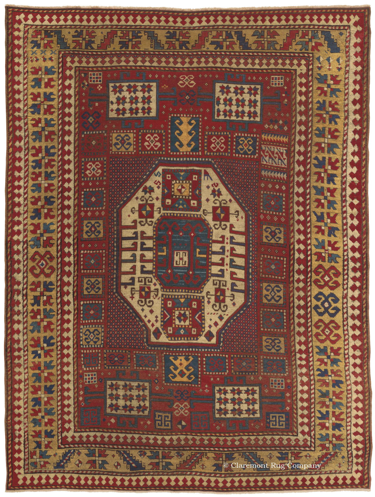 Marvelous A Caucasian Karachov Kazak Rug, (5ft 5in X 7ft 1in) From Circa 1850