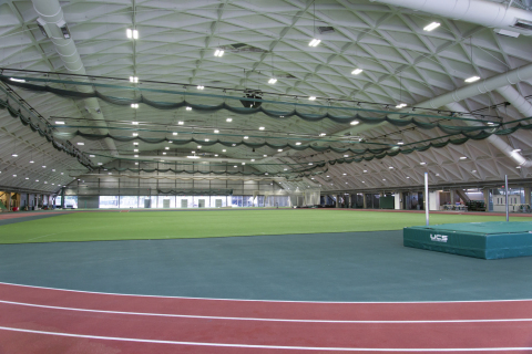Dartmouth College has upgraded the lighting in its newly renovated Leverone Field House to the Digital Lumens Intelligent LED Lighting System, achieving NCAA-required lighting levels and reducing lighting energy use dramatically. (Photo: Business Wire)