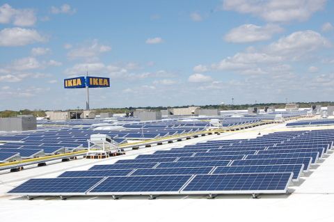 IKEA, the world's leading home furnishings retailer, today announced it had officially plugged-in Kansas' largest rooftop solar array, atop the recently opened IKEA Merriam. (Photo: Business Wire)